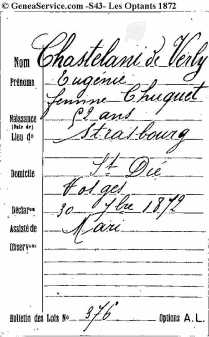43C010-09-028-000 Option pour la nationalite Francaise 1872 Eugenie Auguste Chastelain de Verly - copia
