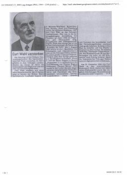 Death Orbituary Coburger Tageblatt Newspaper 1972 Kurt Wahl aka Curt Wahl aka Kurt von Wahl Walther 1st Count von Trenewan in the former Kingdom of Bulgaria - copia - copia - copia