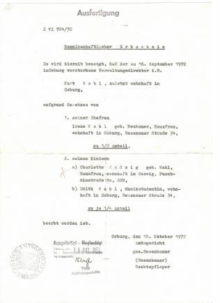 Geburtsurkunde Edith Wahl 001