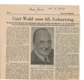 Coburger Tageblatt, meinem Grossvater zum 65 geburtstag