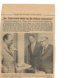 Coburger Tageblatt: Treffen meines Grossvaters mit seinem Freund Thomas Dehler (FDP)