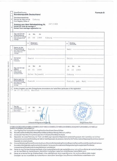 International CIEC Marriage Certificate from the Marriage Register of Mister Ewald Pusich and Misses Edith Pusich nee Miss Wahl Page 1