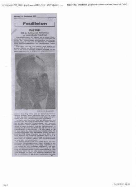 Coburger Tageblatt: Meinem Grossvater zur Ernennung zum Verwaltungsdirektor und Vize-Intendanten des Coburger Landestheaters, 1953