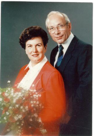 Hochzeitsfoto , Coburg, 25.08.1989: Edith Pusich und Ewald Pusich (1934-2013)